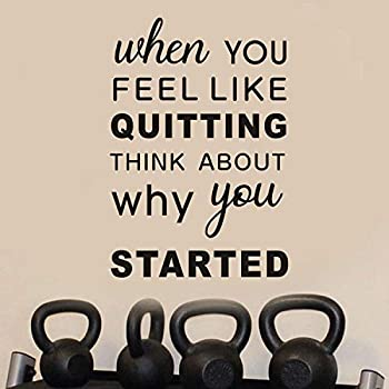 AnFigure Motivational Wall Decals Gym Wall Decal Quote Inspirational Sports Workout Fitness Exercise Vinyl Art Home Decor Stickers When You Feel Like Quitting Think About Why You Started 13 x19