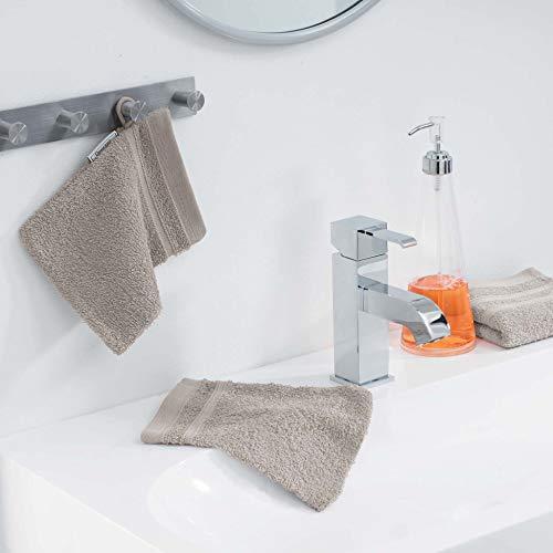 douceur d'intérieur 2 gants de toilette 15x21 cm eponge vitamine taupe