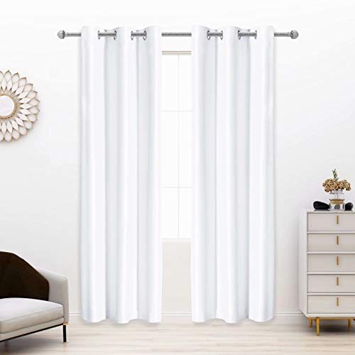 LORDTEX100%Dupioni SilkBlackout Curtains for Bedroom- 38 x 84 Inches, ThermalInsulated,Noise ReducingDrapes Total Light Blocking Grommet Window Curtains for Living Room,2 Panels,White