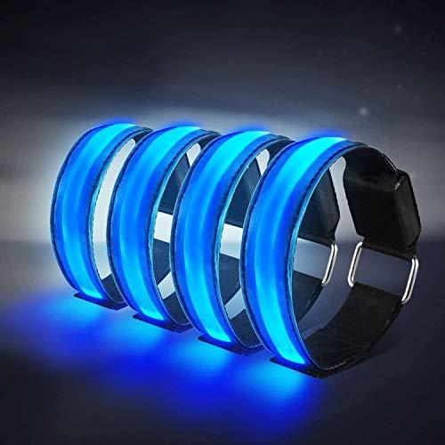Alviller 4 Stück LED Armband, Reflective Led leucht Armbänder Lichtband Kinder Nacht Sicherheits Licht für Laufen Joggen Radfahren Hundewandern Running Jogging und andere Outdoor Sports (Blau)