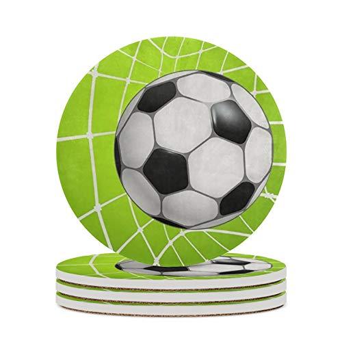 Juego de 4 posavasos para bebidas que absorben la piedra de cerámica redonda con base de corcho, fútbol fútbol en red patrón posavasos para decoración del hogar