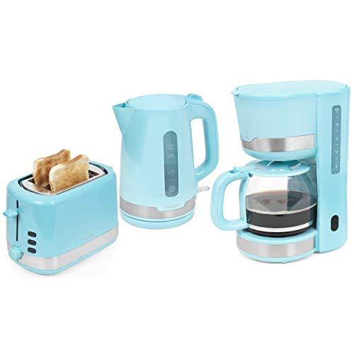 Exquisit Frühstücksset FS 7101 PBl 2 Scheiben Toaster | Wasserkocher | Teekocher | Kaffeemaschine | Kaffeeautomat | Pastell-Blau, Pastellblau