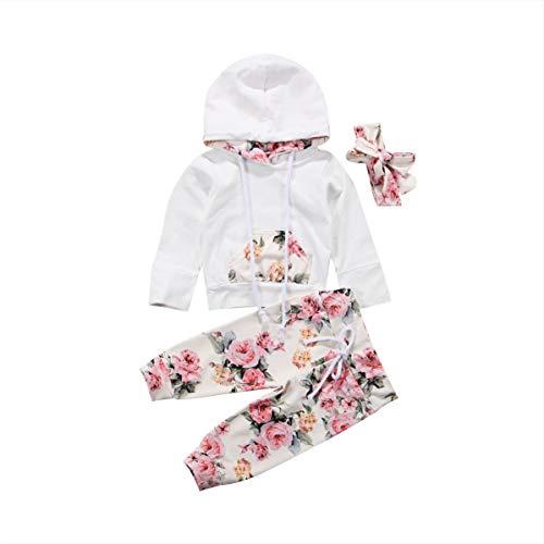Geagodelia Set Baby Mädchen Jungen Oberteil mit Kapuze Blumen + gestreifte Hose + Haarband Baby Herbst Kleidung Sweatshirt Gr. 6-12 Monate, Rosenblüte
