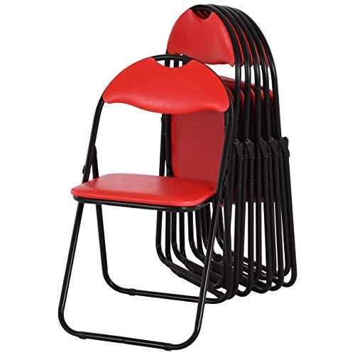 MACOShopde by MACO Möbel Raburg Gästestuhl 6er Set Paul - in ROT, stabiles Faltstuhl + Klappstuhl-Set aus Stahl, Soft-Skin Kunstleder, 100 kg belastbar