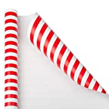 JAM PAPER Gift Wrap - Striped Wrapping Paper - 25 Sq Ft - Red & White Stripes - Roll Sold Individually
