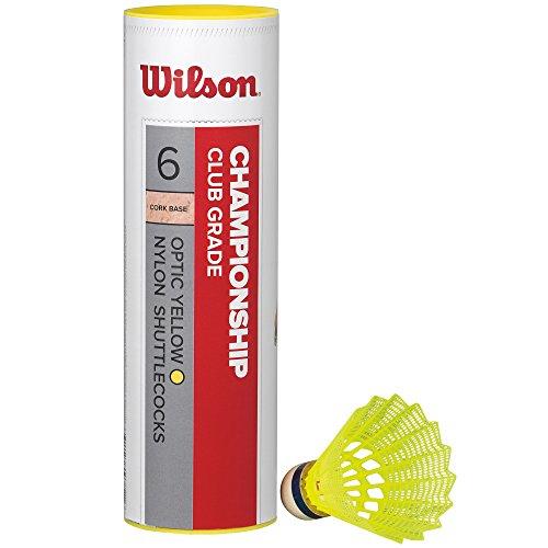 Wilson Badminton-Ball, Championship Shuttlecocks, 6-er Dose, 77 Grains, Gelb, Kunststoff/Naturkork, WRT6044YE77