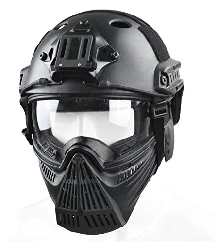 JFFCESTORE Tactical Mask and Fast Helmet,Protective Full Face Anti-Fog Clear Goggle mask Ear Protection Adjustable Strap One Size fits All (Black)