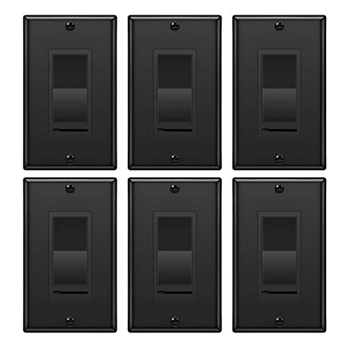 [6 Pack] BESTTEN Dimmer Switch, for Dimmable LED Light, CFL, Halogen and Incandescent Bulb, Single Pole or 3-Way, 120VAC, Wallplate Included, UL Listed, Black