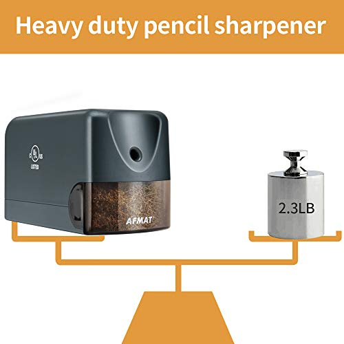 AFMAT Electric Pencil Sharpener Heavy Duty, Classroom Pencil Sharpener Plug in for 6.5-8mm No.2/Colored Pencils, UL Listed Professional Pencil Sharpener w/Stronger Helical Blade, Premium Gray Photo #4