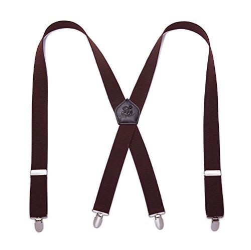 KANGDAI Herren Hosenträger 4 Clips Echtes Leder Klammern X Rücken Durable Wide Elastic Straps Hosenträger für Hosen (Dunkelgrau)