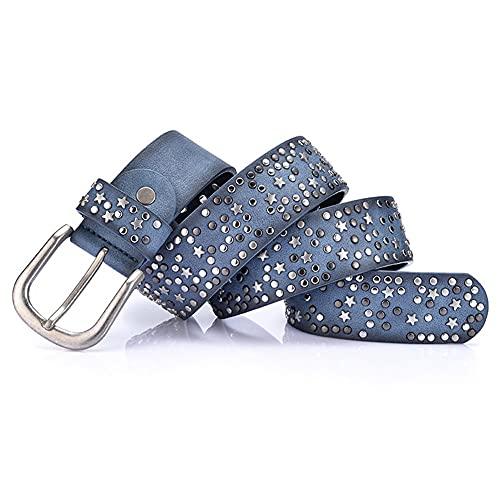 YOOAO Fashion Women's Rivet Belts Punk Rock Style PU Lentejuelas Hebilla de Metal Amplio Remache de Metal (Belt Length : 100cm, Color : Blue)
