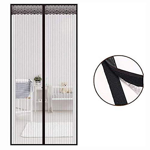 Magneet Screen Door Curtain Mesh - voor glazen schuifdeuren French Patio, handsfree heavy duty, garage, huisdiervriendelijk (kleur: zwart)