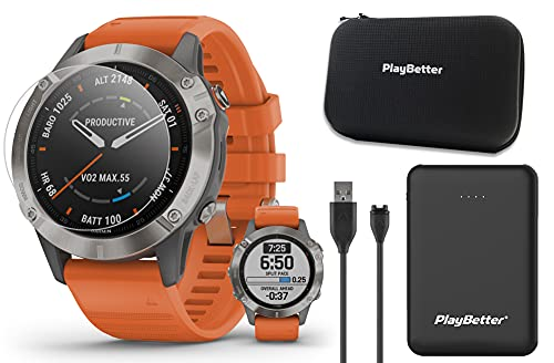 Garmin Fenix 6 Sapphire (Titanium with Orange Band) Power Bundle with HD Screen Protectors, PlayBetter Portable Charger & Protective Hard Case | PulseOx, ClimbPro, Maps, PacePro, Spotify, Music