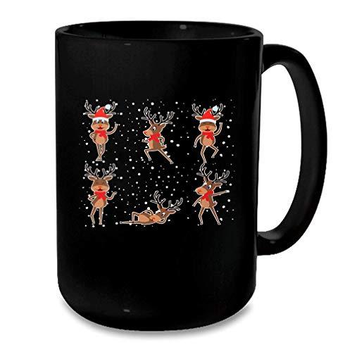 Funny Reindeer Dancing Christmas Costume Dancer Gifts Black Mug Black Size One Size