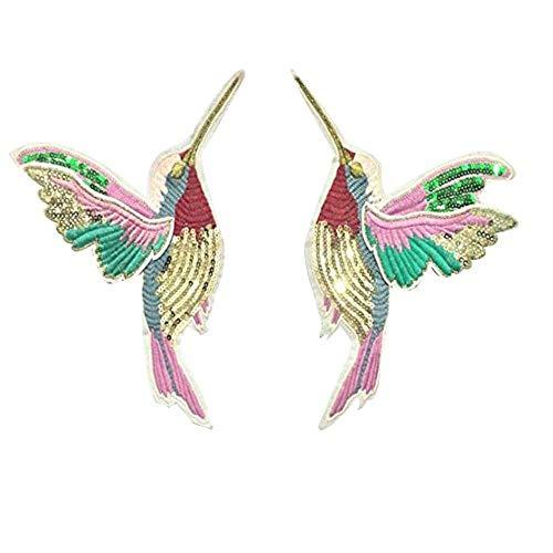 LLine 1 paar 3D pailletten borduurwerk vleugels vogels Patch stoffen naaien kleding Shirtaccessoire Patchwork Diy, Paillette