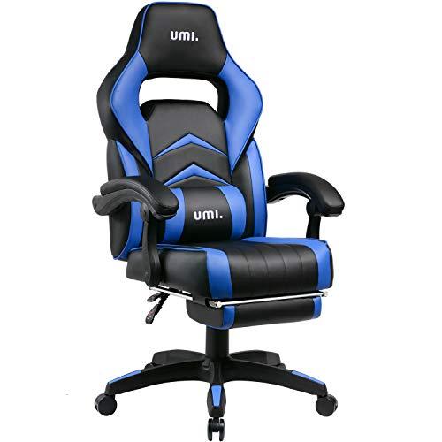 Umi. Essentials Gaming Stuhl Computerstuhl Chefsessel Kunstleder Bürostuhl Höhenverstellbarer Schreibtischstuhl Ergonomisches Design mit Fußstütze und Wippfunktion (Blau)