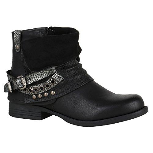 Damen Stiefeletten Biker Boots Nieten Schnallen Leder-Optik Schuhe 148770 Schwarz Glitzer 37 Flandell