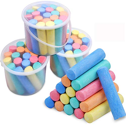 60 Pcs Chalks Set with Rounded Case Jumbo Washable Outdoor Bulk Chalk Non-Toxic Sidewalk Chalks Set for Art Play and Outdoor Play