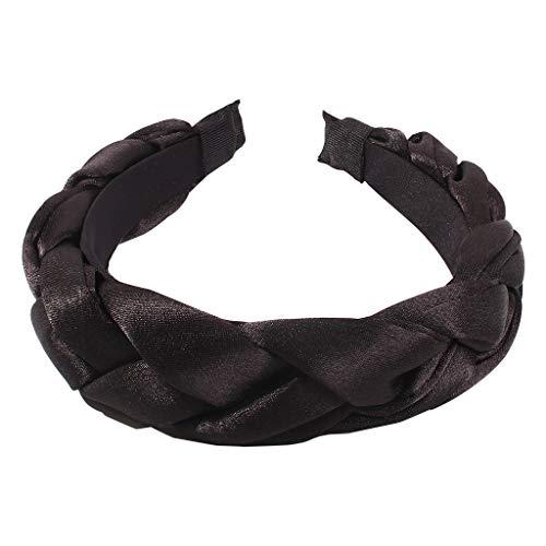JOYKK dames Boho Candy kleur spons gevoerde hoofdband satijn gevlochten weefbaard brede haarband