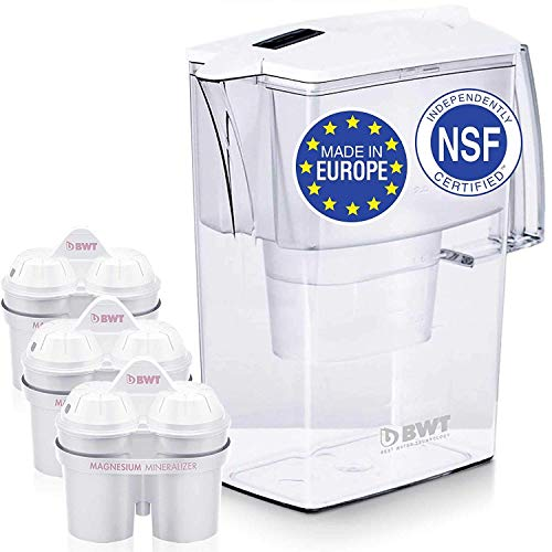 New Upgraded 5 Cup Water Filter Pitcher, Patented Magnesium Technology for Superior Filtration and Taste (3 Bonus 60 Day Filters Included) BPAFree, by BWT Award Winning Austrian Quality