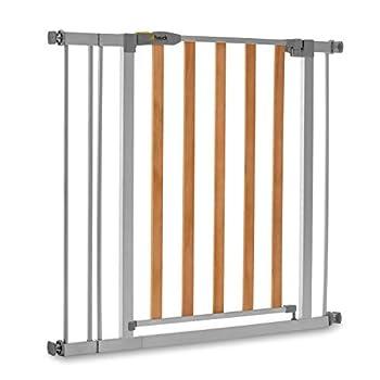 Hauck Barrière de Sécurité pour Enfants Wood Lock 2 incl. Extension de 9 cm / de 84 à 89 cm / Sans Percage / Métal et Bois / gris