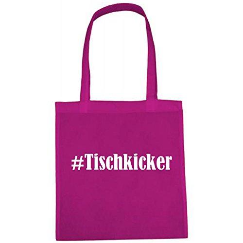 Tasche #Tischkicker Größe 38x42 Farbe Pink Druck Weiss