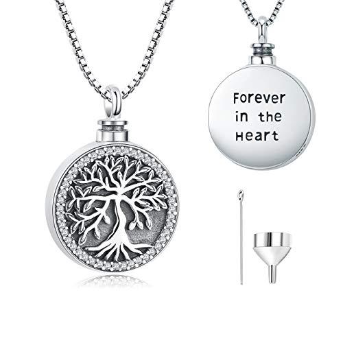 Collar de urna para cenizas, árbol de la vida de plata de ley 925, joyería de cremación conmemorativa para mujer 'Forever in the Heart' con colgante de medallón
