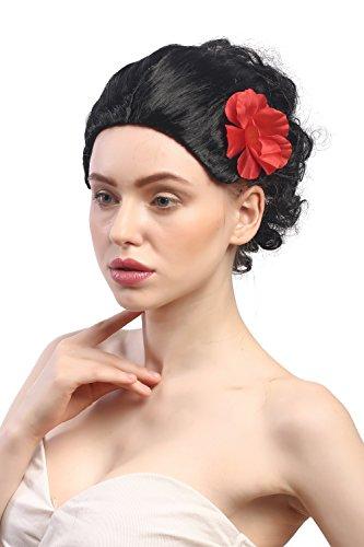 WIG ME UP - 9332-ZA103 Perruque Dames Carnaval Noir Rose Court Espagne Senorita Carmen Tango Bolero