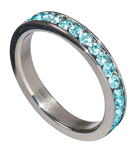Birthstone Eternity Ring~March~Stainless Steel~Cubic Zirconia CZ Band~Aquamarine~Light Blue Crystals~Stackable~Mother's Ring~Children's Ring~Women's Jewelry (5)