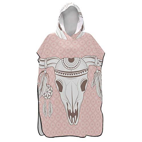 LORONA Ethnical Animal Skull Strandwechseltuch Schnelltrocknender Strandumhang Bademantel Wechselnde Männer und Frauen Schnorcheln Kapuzen-Kleiderbezug