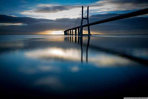ERTYG Rompecabezas Adultos 1000 Rompecabezas Puzzle Rompecabezas Puente Vasco da Gama Lisboa Portugal al Amanecer. Adultos Juegos Infantiles de Arte DIY