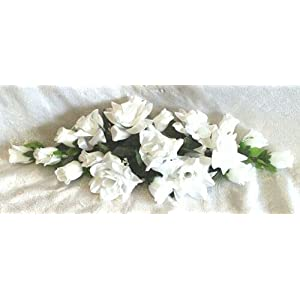White 2 ft Artificial Roses Swag Silk Flowers Wedding Arch Table Runner Centerpiece, for Wedding Supplies