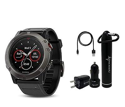 Wearable4u Garmin Fenix 5X Sapphire Multisport GPS Watch with Preloaded Topo Maps Ultimate Power Bundle