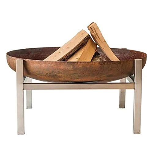 N / A Large Fire Pit, Rusty Style Corten Steel Brazier Heater, Multifunctional Camping Bowl BBQ, For Indoor Outdoor Garden Patio Grill (Size : 60cm)