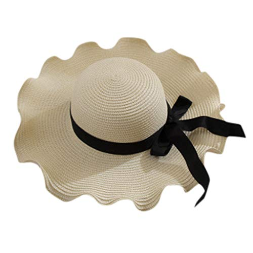 Women Bowknot Straw Hat Stripe Floppy Foldable Roll up Beach Cap Sun Hat Outdoor UV +50 White