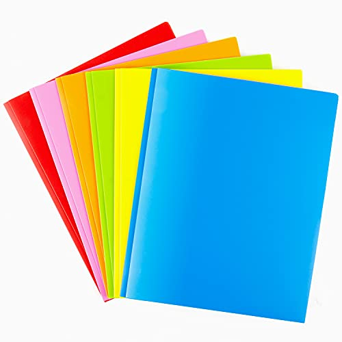 Plastic Folders with Pockets and Prongs Heavy Duty 2 Pocket Folders 6 Packs with Card Slot for Letter Size Sheets Assorted Colors School Work and Home