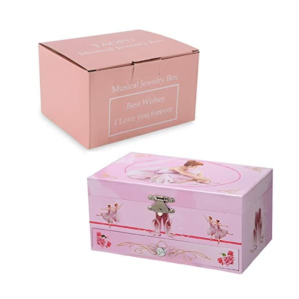 TAOPU Sweet Musical Jewelry Box with Pullout Drawer and Dancing Ballerina Girl Figurines Music Box Jewel Storage Case… 5