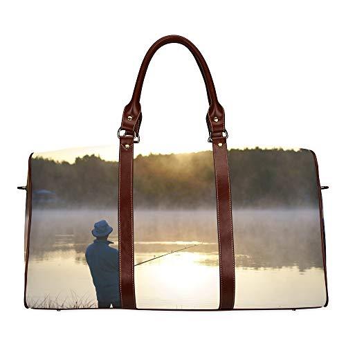 Tote Bag Kids Lonely Fisherman Fishing At Sunset Waterproof Microfiber Leather Carryon Bag Backpack Handbag Best Travel Duffel Bag Travel Tote Bag For Women Weekend Tote Bag