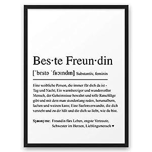 BESTE FREUNDIN Definition ABOUKI Kunstdruck Poster Bild Geschenk-Idee für Freundinnen Frauen Freundschaft mit schwarzem…