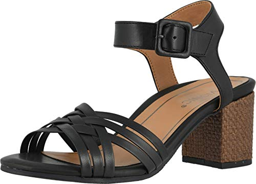 Vionic Women's Peony Heeled Sandals - Ladies Blocked Heel Sandals with Concealed Orthotic Arch Support Black 7 Medium US