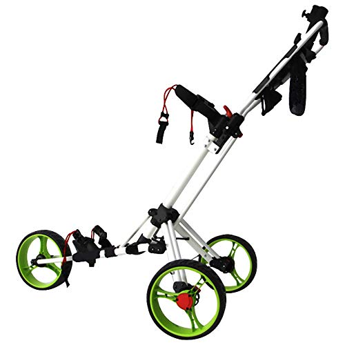 QQLK Golftrolley Faltbar, Unisex, 3 Rad Faltbarer Golf Pull/Push Trolley, Aluminiumlegierung, Golf Pull Cart FüR Golfsport Im Freien,White Green