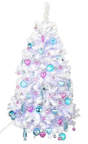 Christmas Concepts® 4 Pies Pre Decorado árbol de Navidad - Azul Hielo y Rosa Bebé Chic y Elegante Diseño - Completo con Adornos Surtidos y Set de Luces de Navidad - Paquete Deluxe Equipo
