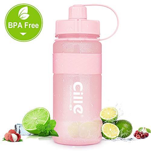 Trinkflasche 1L Wasserflasche Sportflasche für Fitness, Wandern, Camping, Outdoor-Sportarten Flaschen aus BPA frei, Auslaufsicher, Nachhaltig (1000ml, A-Rosa)