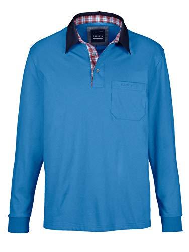 BABISTA Herren Polo-Shirt – Langarm-Shirt aus Reiner Baumwolle, Leichter Pullover mit kariertem Webbesatz im Kragen, Polo-Hemd in Bordeaux, Gr. 52, Blau, Gr. 64
