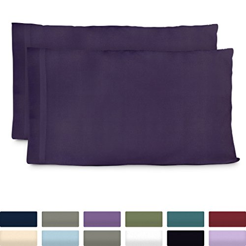 Cosy House Collection Premium Bamboo Pillowcases - King, Purple Pillow Case Set of 2 - Ultra Soft & Cool Hypoallergenic Blend from Natural Bamboo Fiber