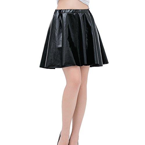 WEIMEITE Falda Skater Metálica Brillante Look Mojado Líquido Plisado Minifalda Corta Negro S