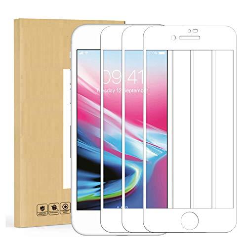 MUNDDY - Pack DE 3 Protectores de Pantalla Completa Full Glue para iPhone Dureza 9H sin Burbujas .Full Glue Cristal Templado Completa con Bordes Redondeados (iPhone 7 Plus/iPhone 8 Plus Blanco)