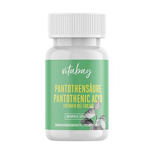 Vitabay Acido Pantotenico (Vitamina B5) 500 mg • 100 Capsule • Alto Dosaggio • Naturale e Biologico