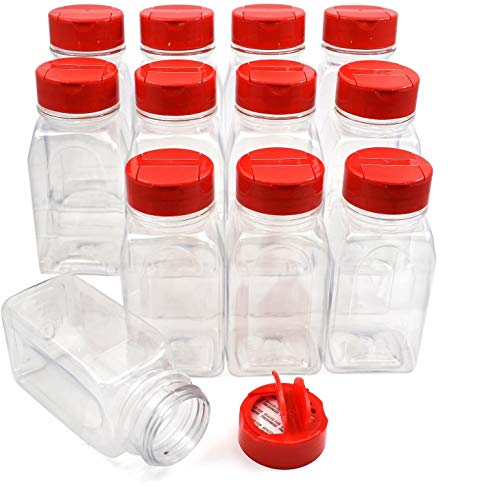 RoyalHouse - 12 PACK - 9.5 Oz with Red Cap - Plastic Jars Bottles Containers - Perfect for Storing Spice, Herbs and Powders - Lined Cap - Safe Plastic - PET - BPA free - Made in the USA