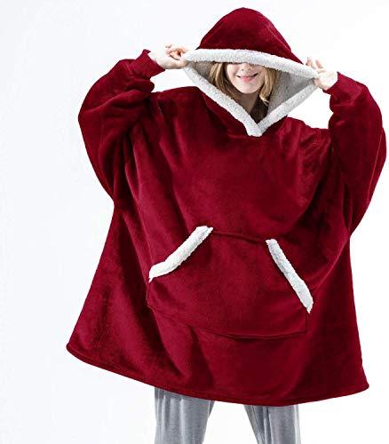 Manta de gran tamaño con capucha de invierno con capucha y bolsillo con capucha y mangas Sudaderas a cuadros con bolsillo para mujer (color: rojo 2, tamaño: talla única)